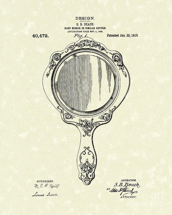 720x900 Beach Hand Mirror 1910 Patent Art Drawing By Prior Art Design