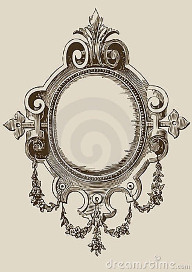 Vintage Mirror Drawing Modren 636x900 Antique Frames Gothic Clipart Pencil And In With