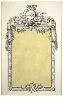 208x320 Drawing, Design For A Mirror Frame With Monogram Of Marie