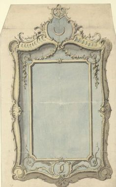 236x379 Tombstone Drawing, Design For A Mirror Frame With The Monogram