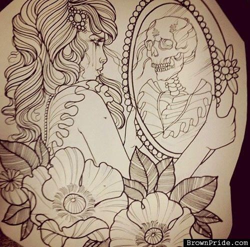 500x494 Skeleton In Mirror Drawing