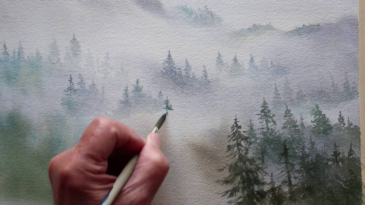 1280x720 Watercolor Trees In The Mist