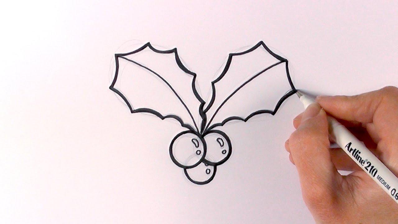 1280x720 How To Draw Cartoon Christmas Mistletoe