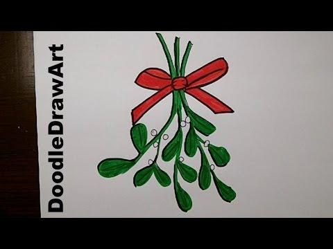 480x360 How To Draw Cartoon Mistletoe Step By Step