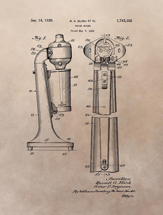 681x900 1930 Drink Mixer Patent Drawing By Dan Sproul