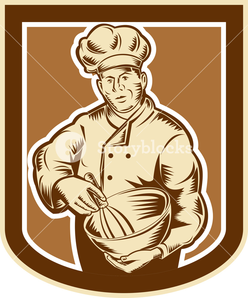 833x1000 Baker Chef Cook Mixing Bowl Woodcut Retro Royalty Free Stock Image