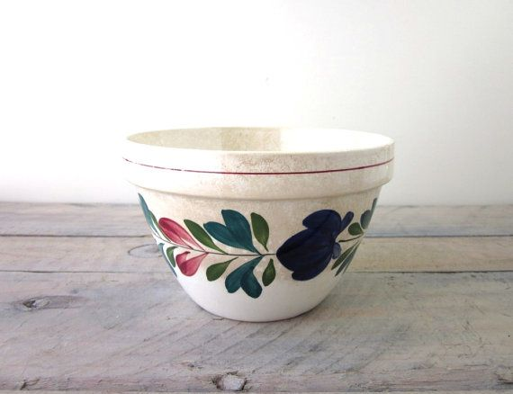 570x438 Vintage Pottery Mixing Bowl With Hand Painted Flowers T. G. Green