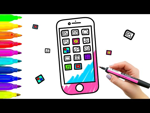 640x480 Color Mobile Phone Coloring Book And Drawing For Kids. Learning