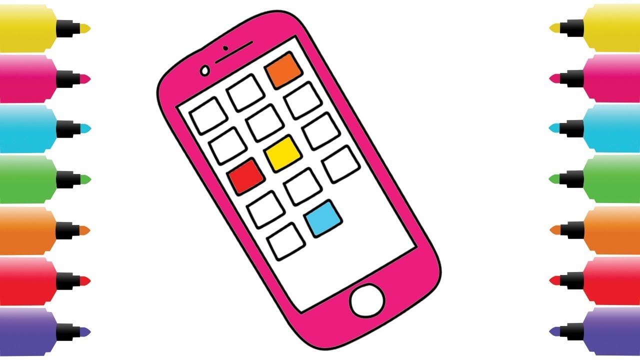 1280x720 Coloring Pages Mobile Phone Drawing Kids Art Colors