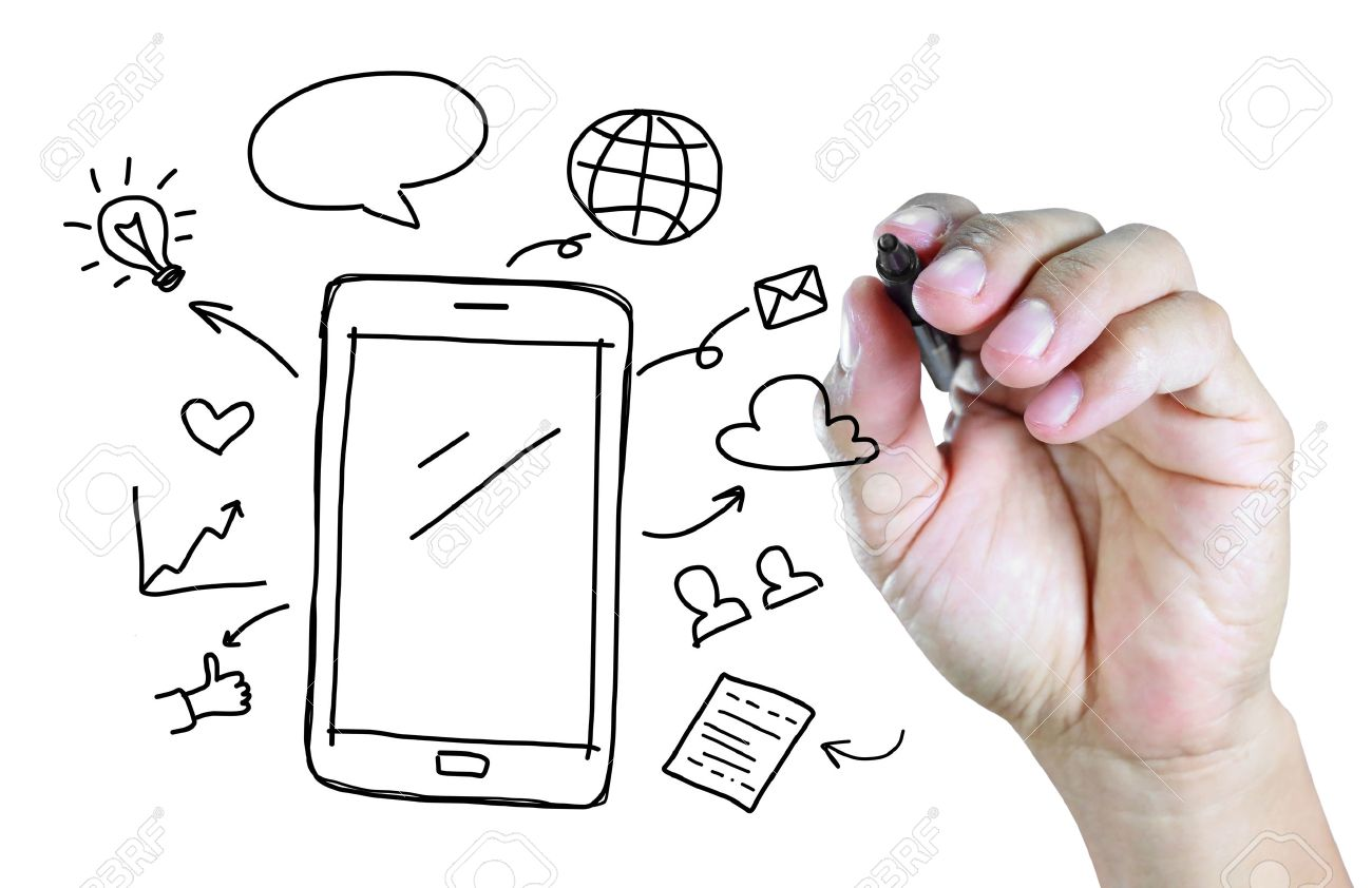1300x842 Hand Drawing Mobile Phone With Social Media Concept Stock Photo