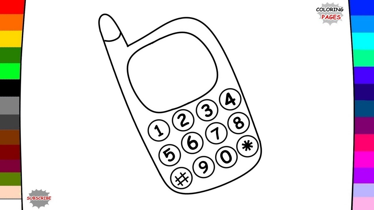 1280x720 Mobile Phone Coloring Page