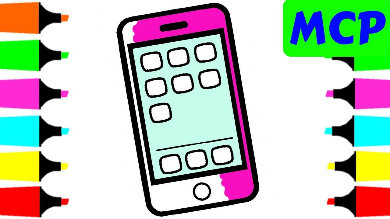 1280x720 Mobile Phone Coloring Page For Kids