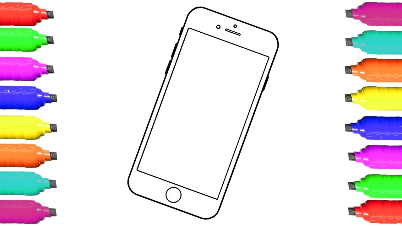 1280x720 Mobile Phone Coloring Pages And Drawing For Kids