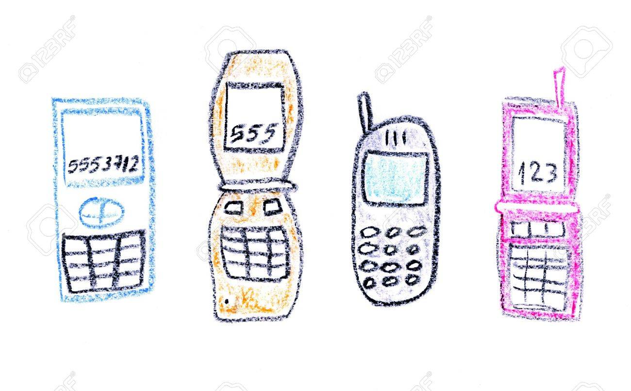 1300x806 Child Drawing Of Various Mobile Phone Models Made With Wax Crayons