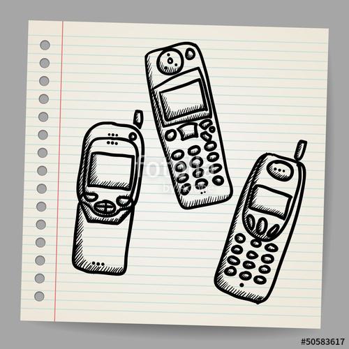 500x500 Old Mobile Phone Set. Hand Drawing Cartoon Sketch Illustration
