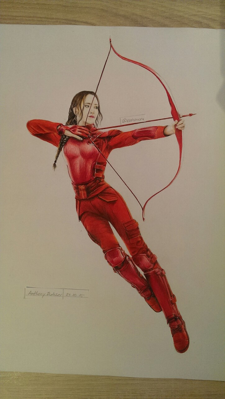 724x1280 My Drawing Of Katniss Everdeen In The Red Mockingjay Costume