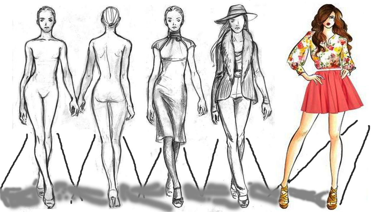 1280x720 Fashion Figure Sketch Drawing Cartoon Figure Drawing Model