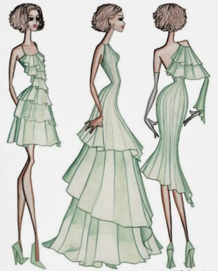 434x539 Fashion Model Drawing