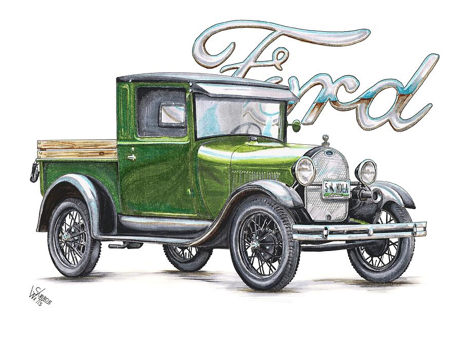 900x707 1929 Model A Ford Truck Drawing By Shannon Watts
