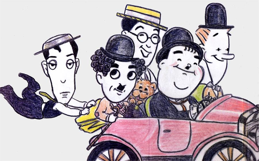 900x561 Comedians In Model T Drawing By Mel Thompson