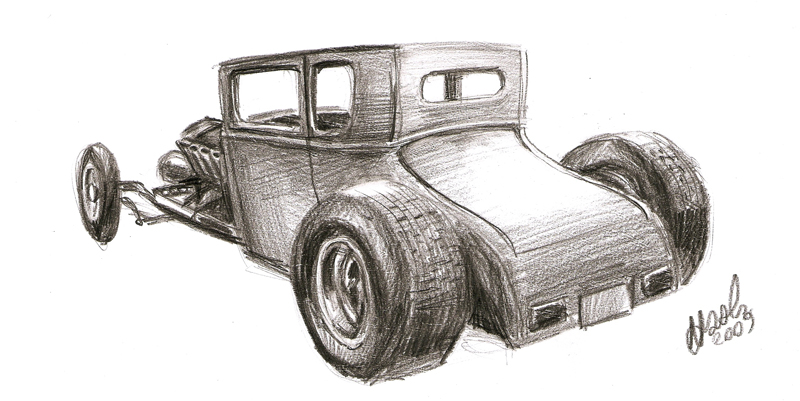 800x401 Ford Model T Hot Rod Sketch By Nozols
