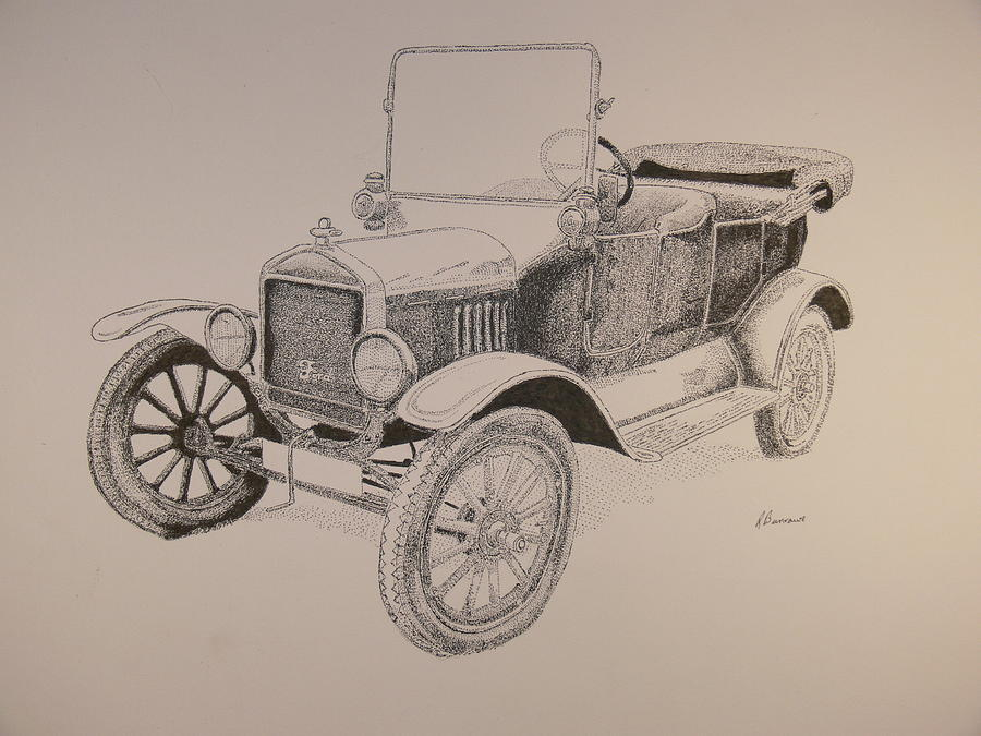 900x675 Model T Drawing By Richard Burrows