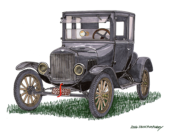 600x471 Pen Amp Ink Watercolor Painting Of A 1923 Ford Model T Coupe, Old