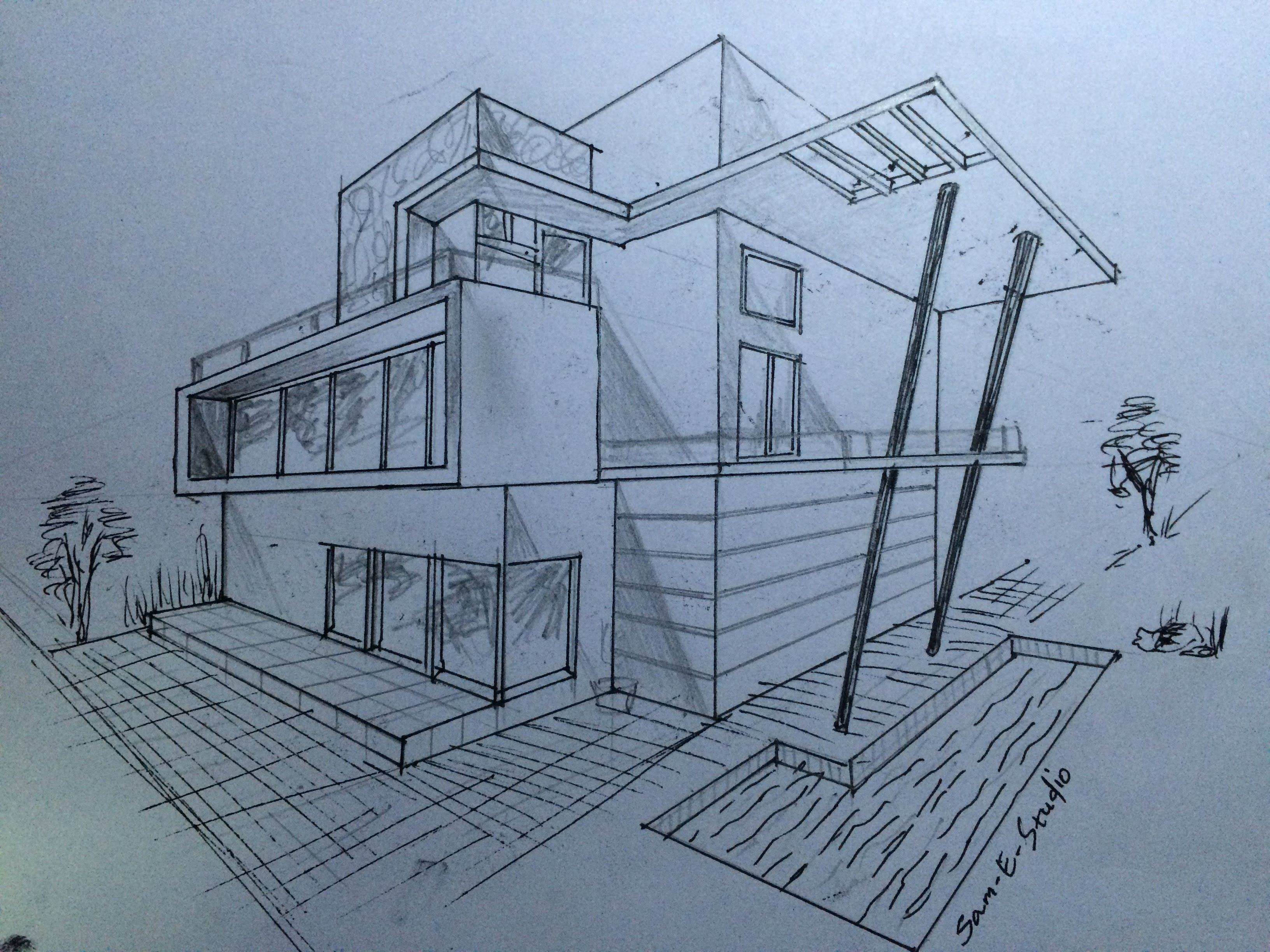 3264x2448 Architecture Modern House Design (2 Point Perspective View)