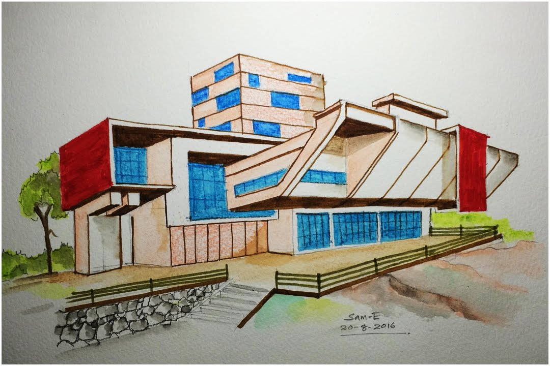1080x720 Architecture Modern House Design (Freehand Drawing)
