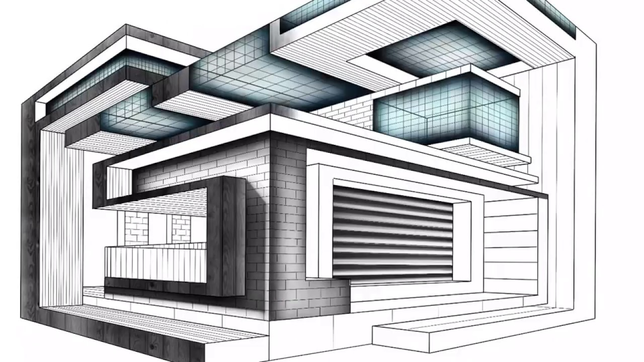 1280x720 How To Draw A Box House. Modern Architecture Drawing