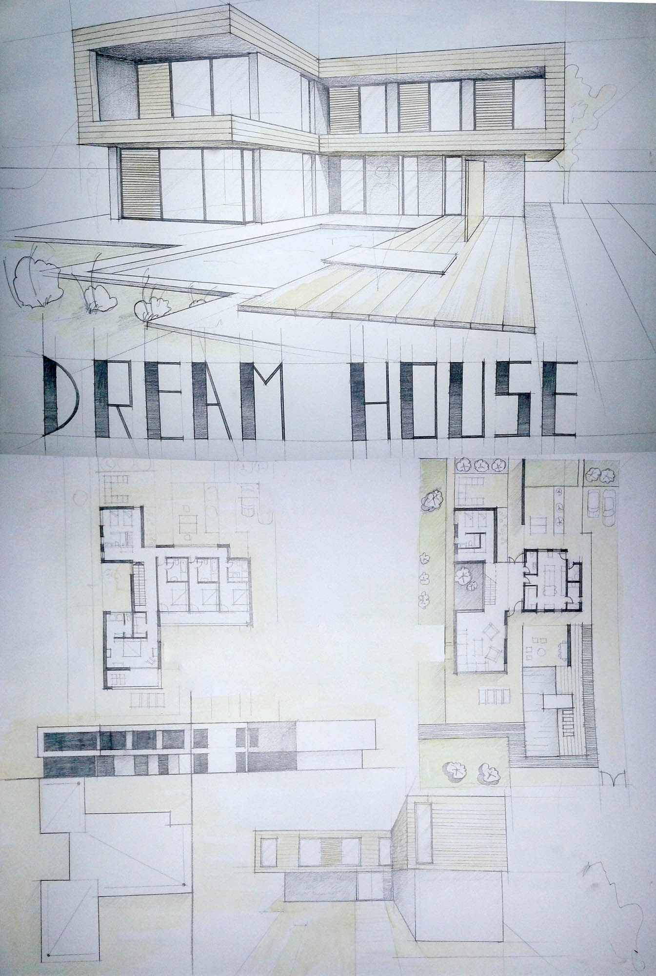 1345x2000 Modern House Drawing Perspective Floor Plans Design Architecture
