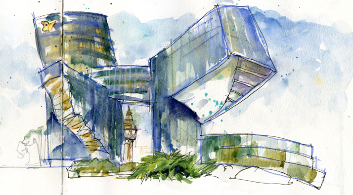 714x395 Modern Architecture Drawing