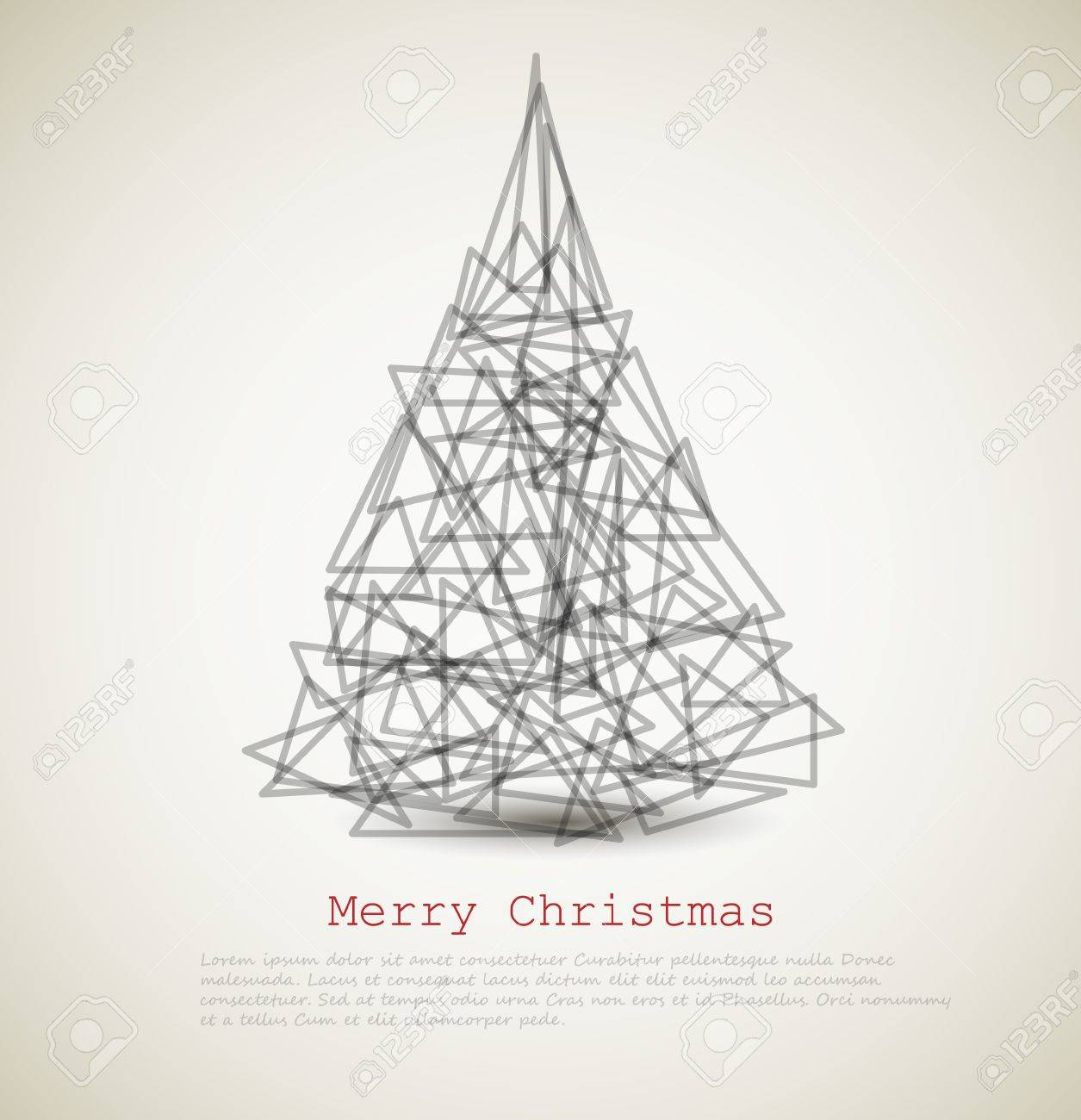 1255x1300 Modern Card With Abstract Christmas Tree On A Light Background