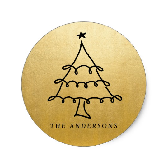540x540 Modern Christmas Tree Drawing Faux Gold Foil Classic Round Sticker