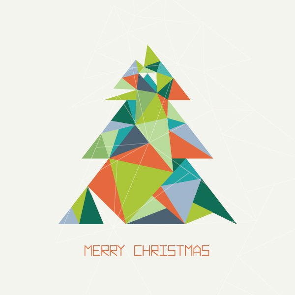 600x600 Triangular Christmas Tree Vector Graphic Merry Christmas