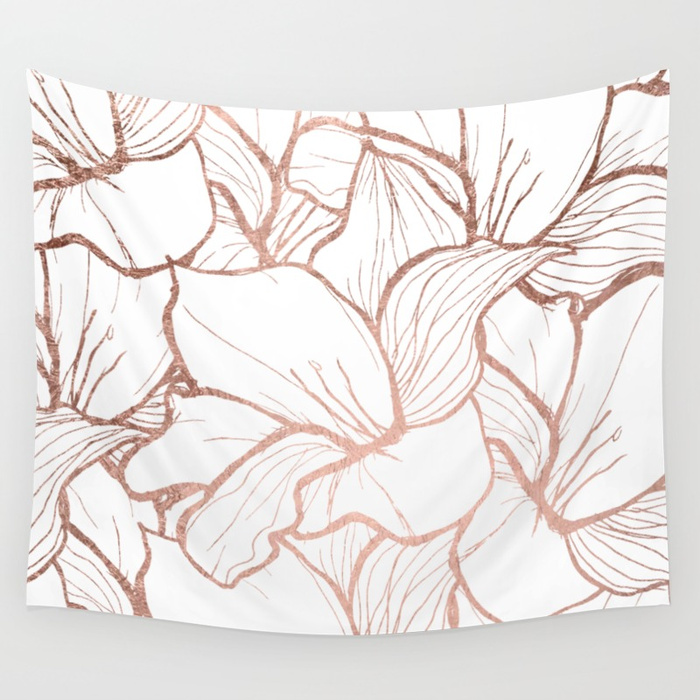 700x700 Modern Handdrawn Abstract Faux Rose Gold Flowers Pattern Wall