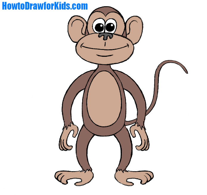 695x656 How To Draw A Monkey For Kids Howtodrawforkids