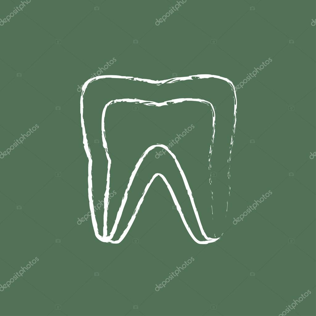 1024x1024 Molar Tooth Icon Drawn In Chalk. Stock Vector Rastudio