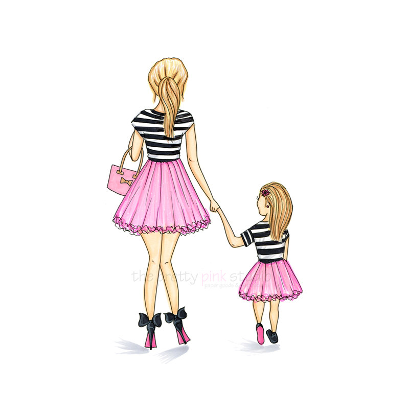 800x800 Fashion Illustration Mother Daughter Print Mom And Daughter