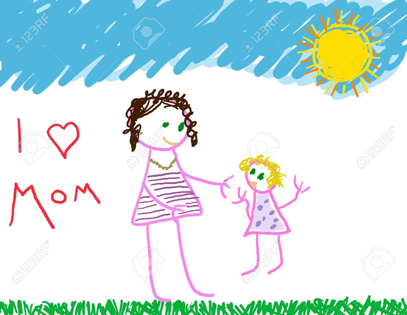 1300x1004 I Love Mom Drawing Of Mom Amp Daughter Stock Photo, Picture