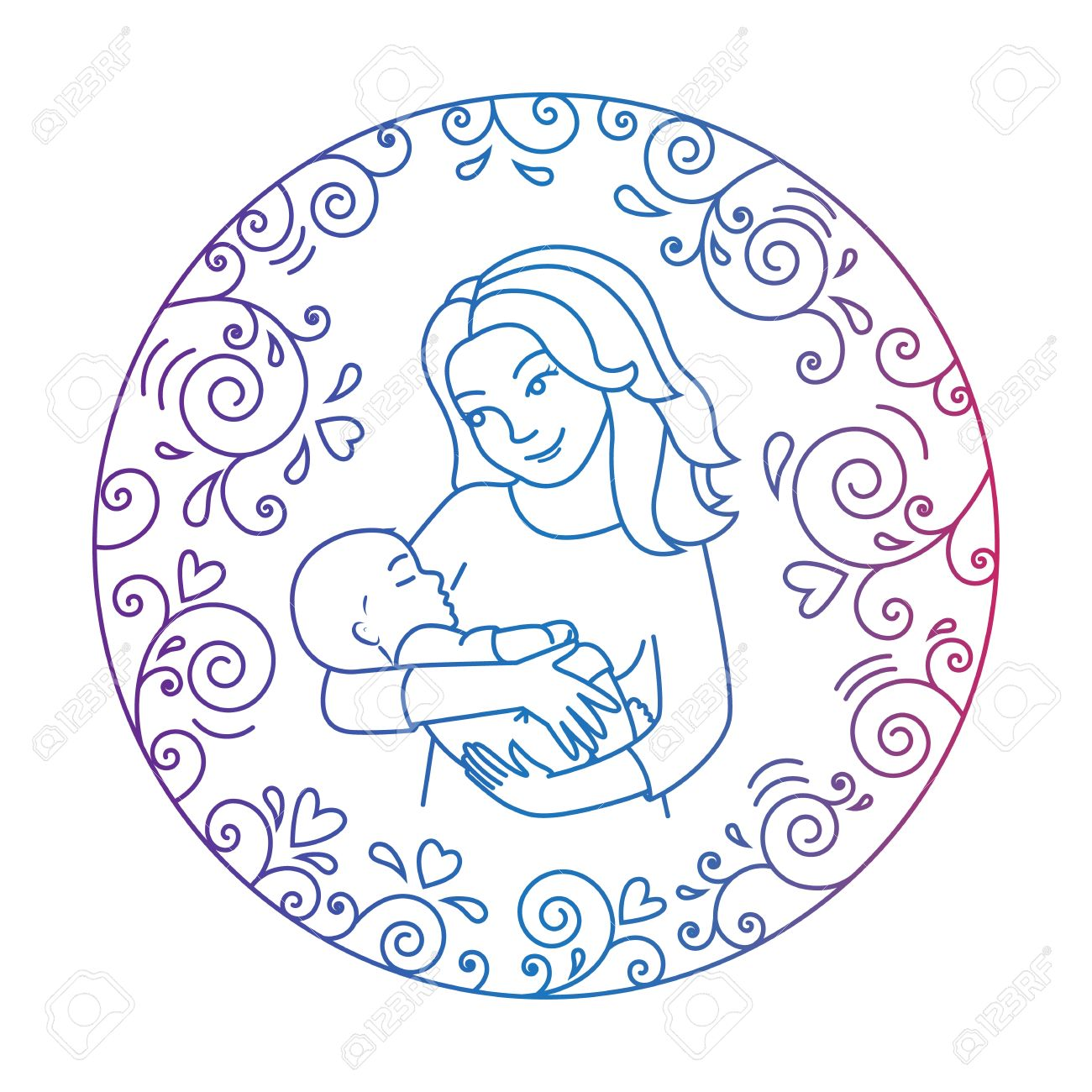 1300x1300 Colored Motherly Love Concept Isolated On A White Background