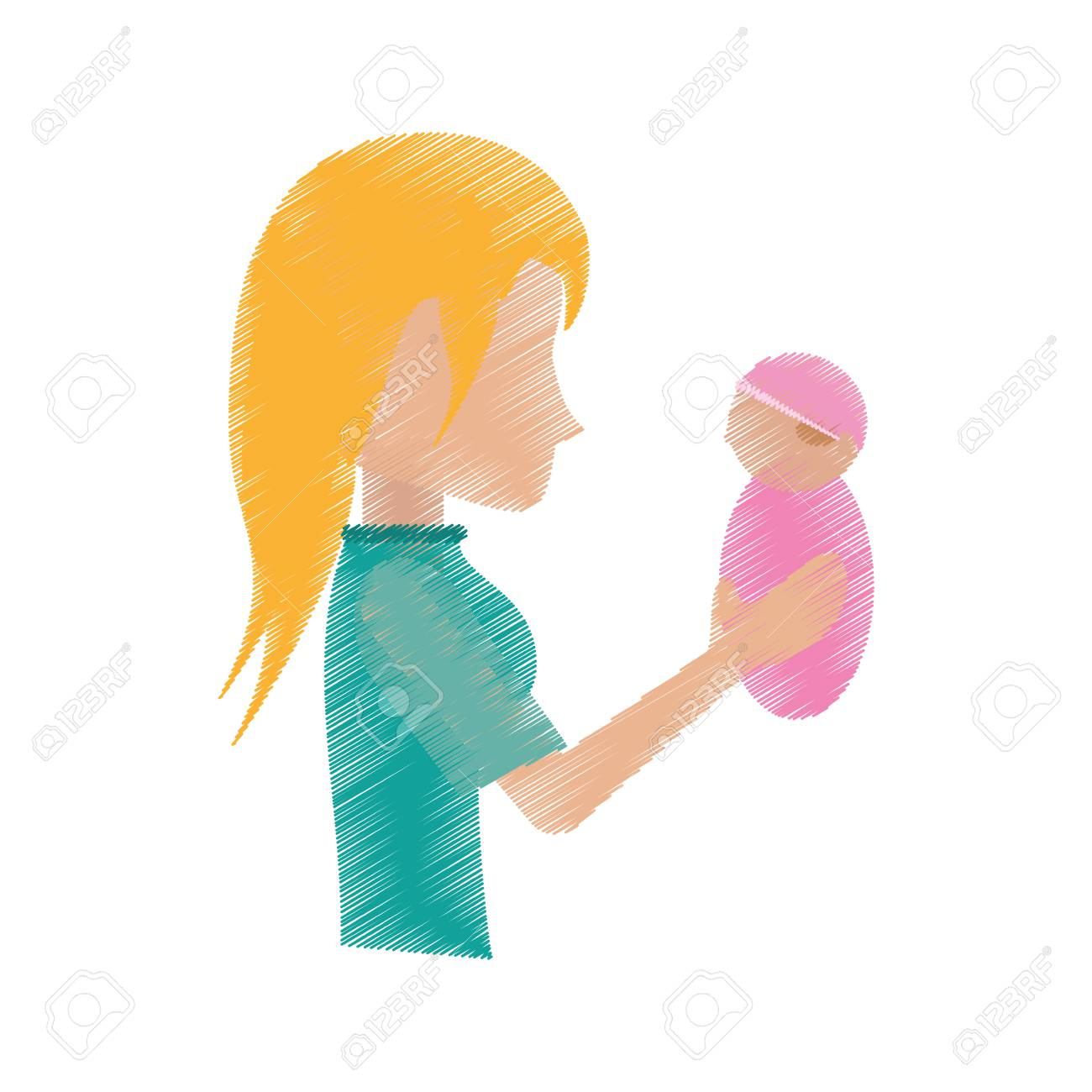 1300x1300 Drawing Mother Holding Baby Image Vector Illustration Eps 10