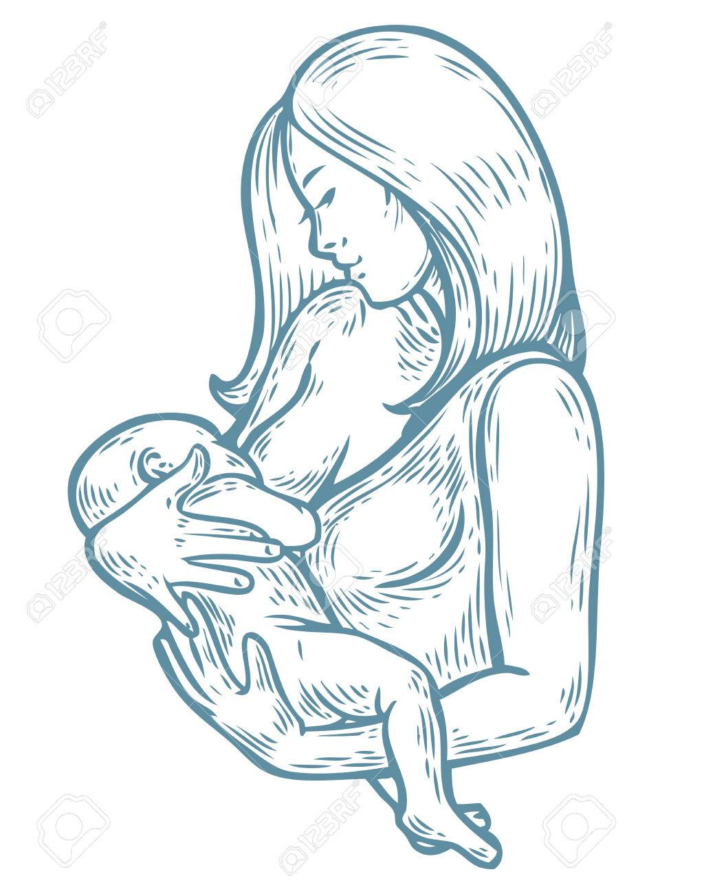 1040x1300 Woman Breastfeeding Baby, Mother Holding Newborn Baby In Arms
