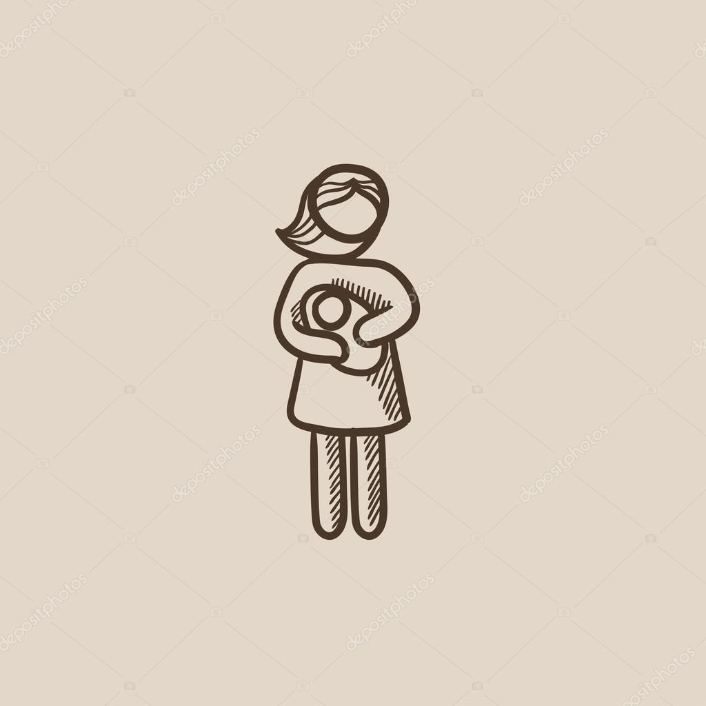 1024x1024 Woman Holding Baby Sketch Icon. Stock Vector Rastudio
