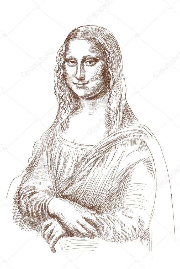 686x1023 Sketch Of Mona Lisa Stock Editorial Photo Khorzhevska