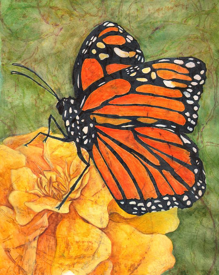 717x900 Monarch On Marigold Drawing By Sara Bell