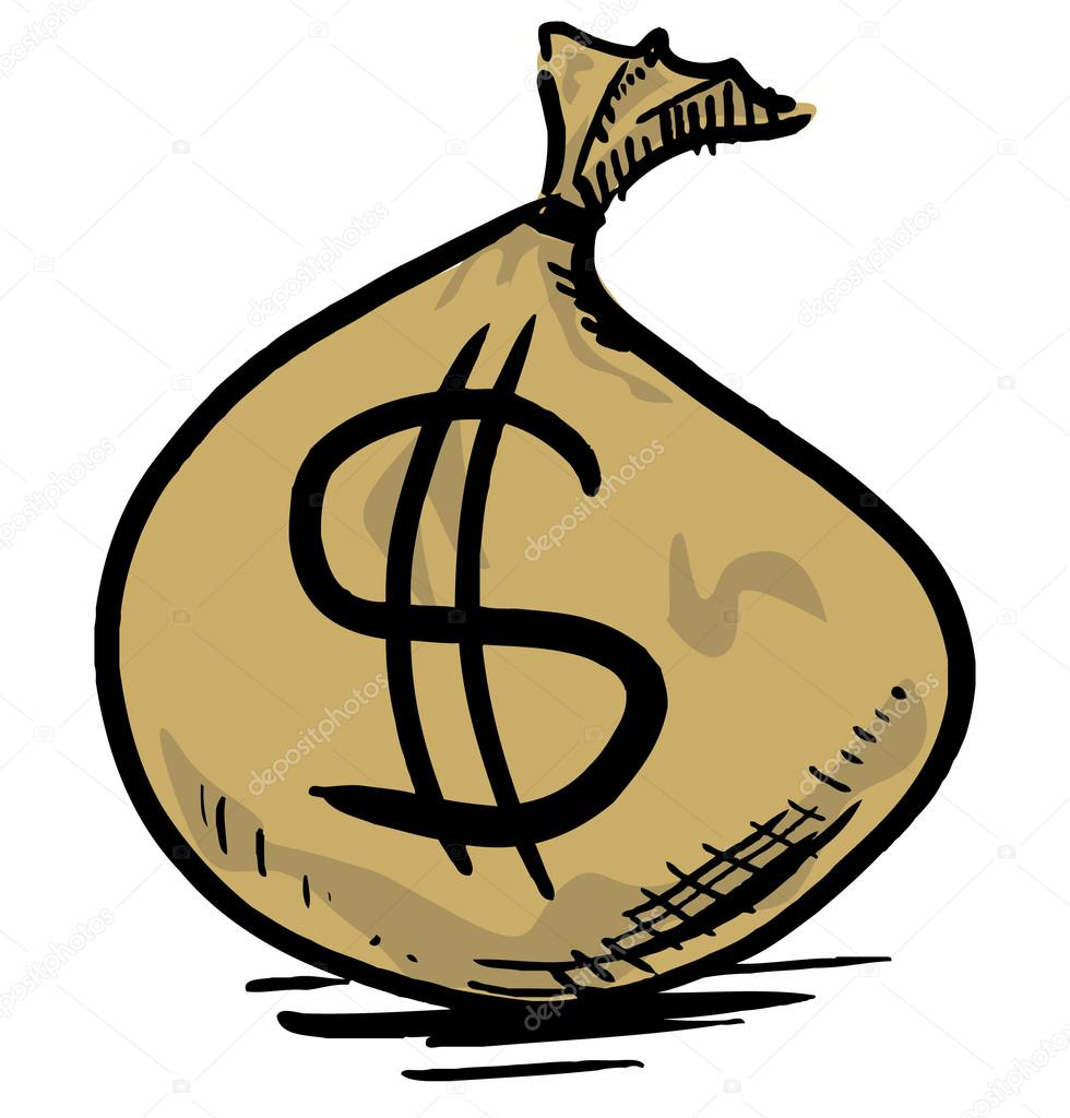 980x1024 Money Bag With Dollar Sign. Hand Drawing Sketch Vector