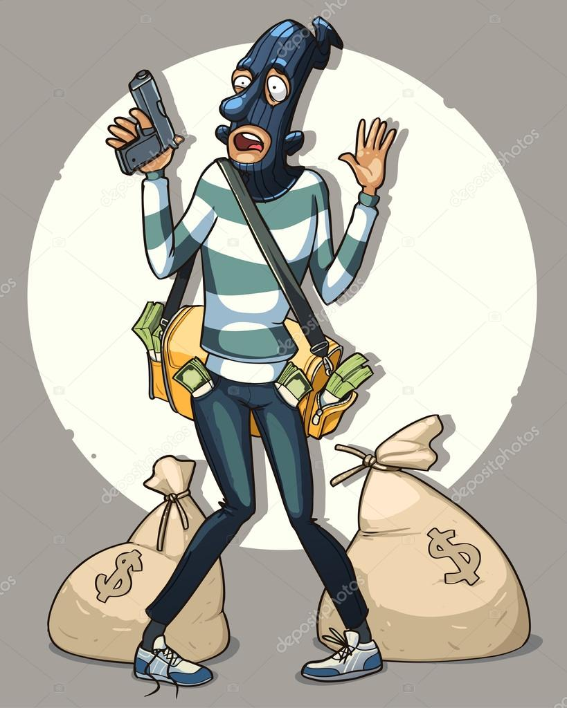 819x1024 Bank Robber With Money Bags Arrested By Police Stock Vector