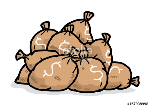 500x357 Pile Of Money Bags Cartoon Vector And Illustration, Hand Drawn