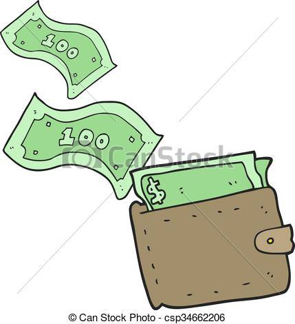 429x470 Freehand Drawn Cartoon Wallet Full Of Money Vector Clipart